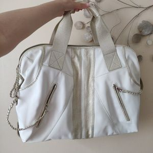 Andrew Marc Ivory Leather Hobo Bag